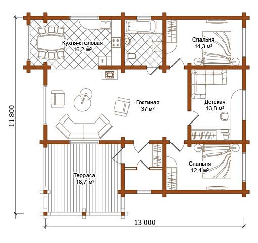 проект дървена къща от цилиндровани трупи