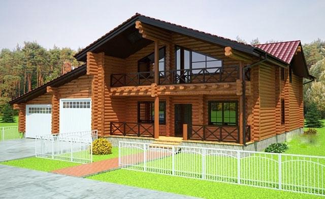 двуетажна къща от дървени трупи