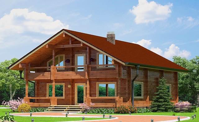 двуетажна дървена къща от слепени греди