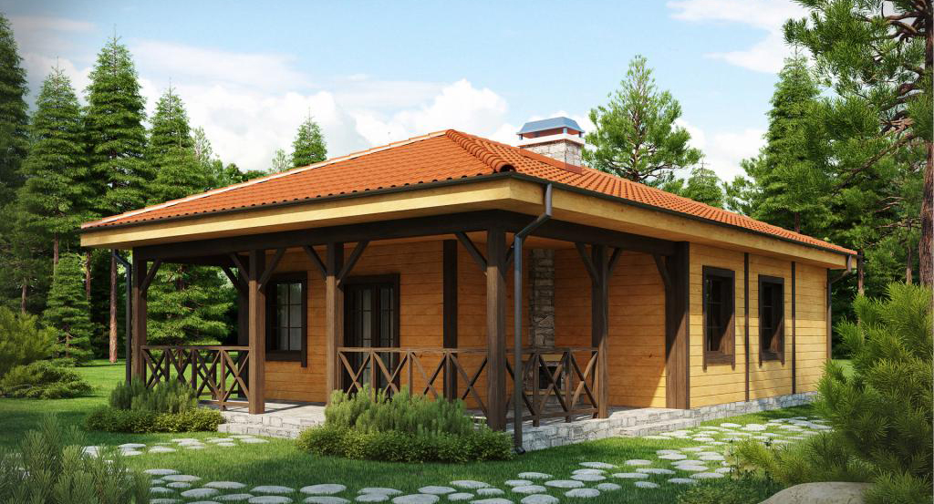 дървена къща от слепени или профилирани греди