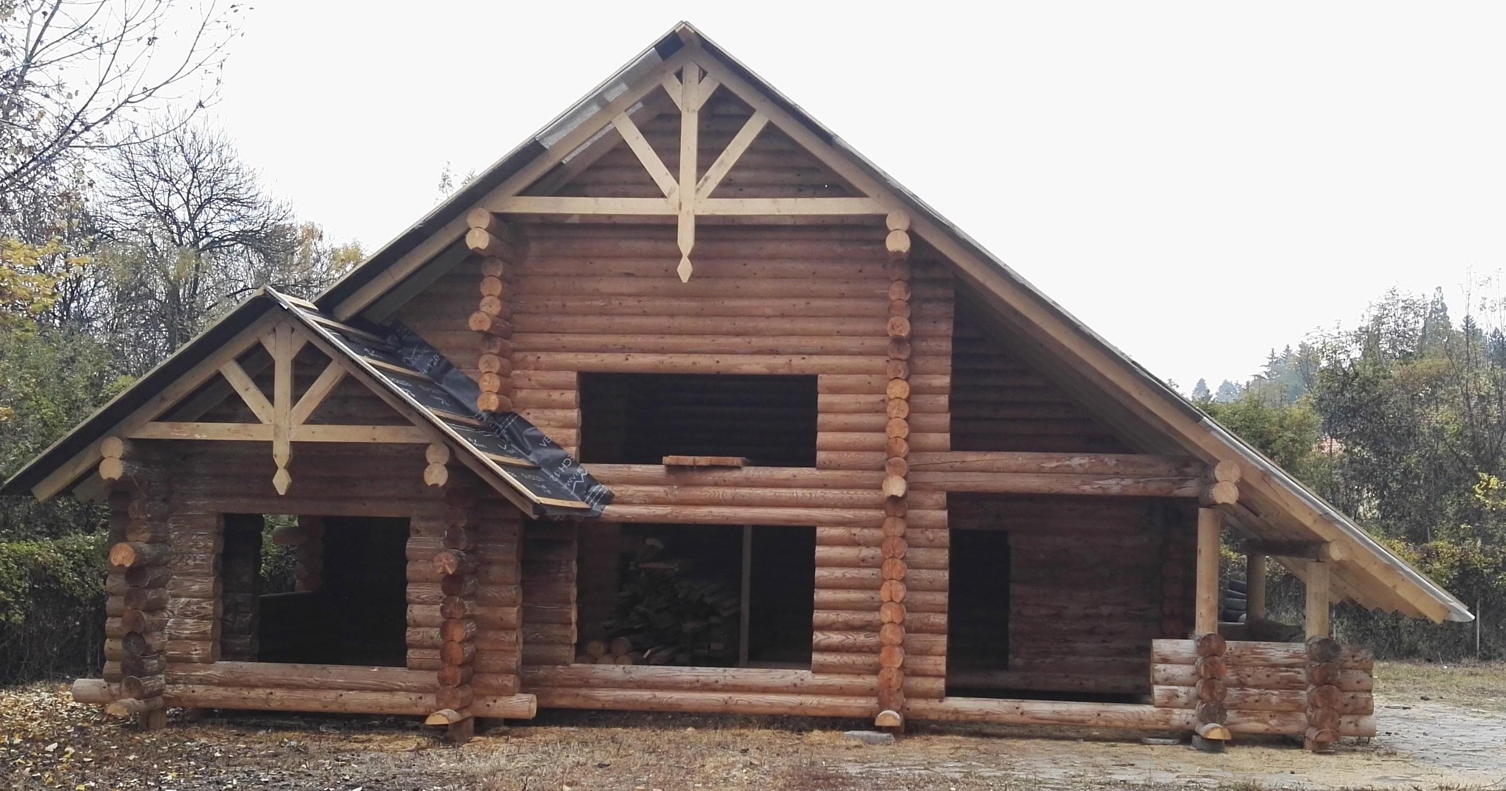 двуетажна дървена къща от механично цилиндровани трупи диаметър 220 в софия