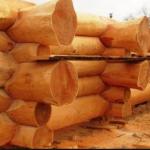 Casas de madera de troncos procesados manualmente